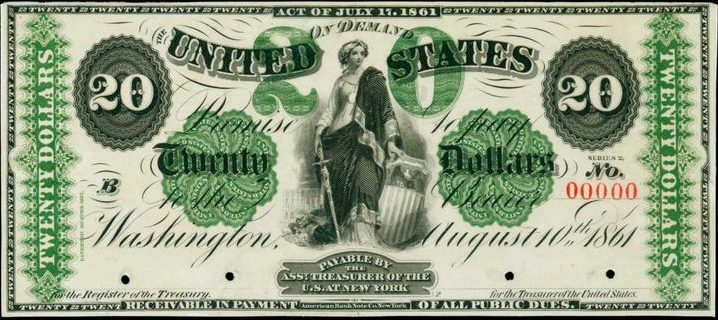 August 10th 1861 $20 Demand Note Value | Sell Old Currency