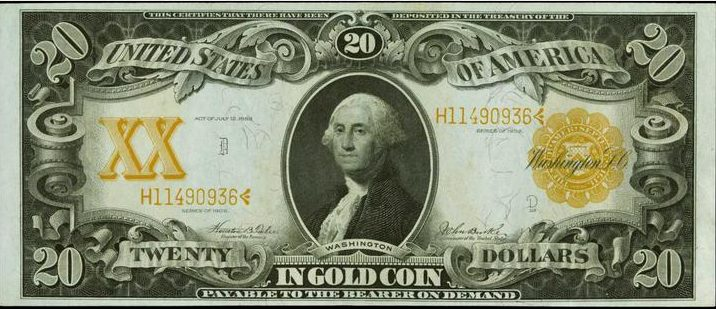 Value of Series of 1906 $20 Gold Certificate | Sell Old Currency