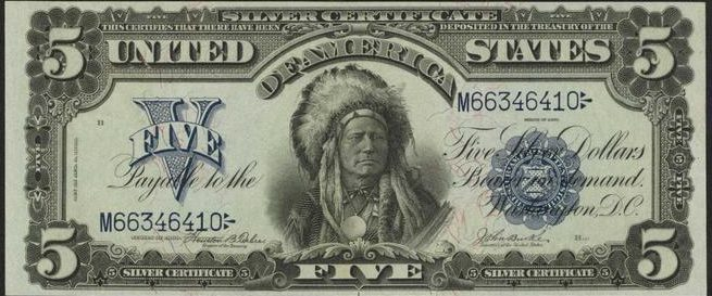 Series of 1899 $5 Bill Indian Chief Value | Sell Old Currency