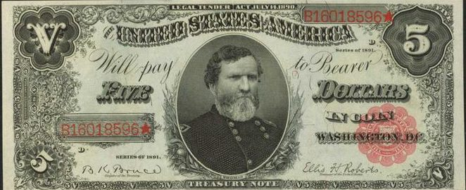 Series of 1891 $5 Treasury Note Value | Sell Old Currency