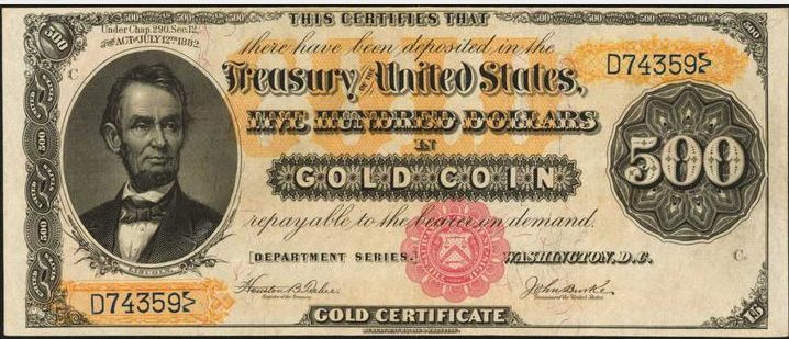 Series of 1882 $500 Gold Certificate | Sell Old Currency