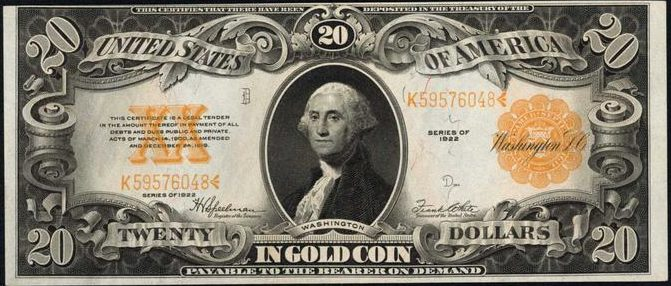 1922 20 Gold Certificate Bill Value Sell Old Currency