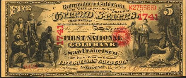 Five Dollar National Gold Bank Note Value | Sell Old Currency