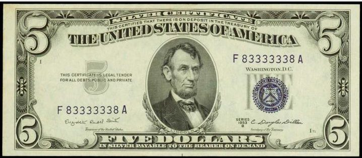 1953 Blue Seal Five Dollar Silver Certificates - Values and Pricing ...