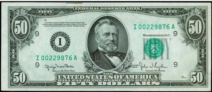 Green Seal Fifty Dollar Bills from 1950 and Newer | Sell Old