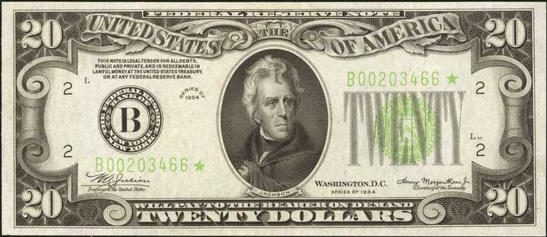Series of 1934 $20 Bill Value | Sell Old Currency