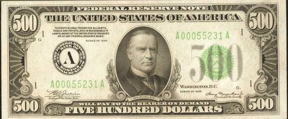 How Much Is A 1934 500 Bill Worth