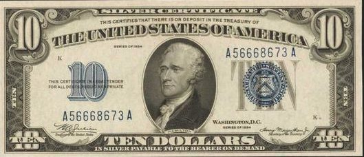 Value of 1934 $10 Silver Certificate | Sell Old Currency